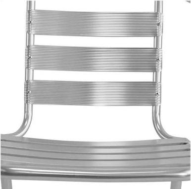 Silla de Jardín Just Home Collection Slat de Aluminio Plateada 3