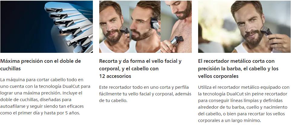 Cortabarba Philips Multigroom Serie 7000 12 en 1, Vello Facial, Corporal, y Cabello 11