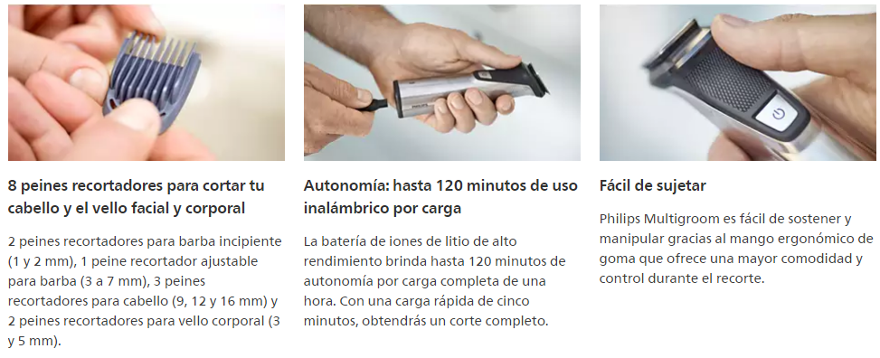 Cortabarba Philips Multigroom Serie 7000 12 en 1, Vello Facial, Corporal, y Cabello 13